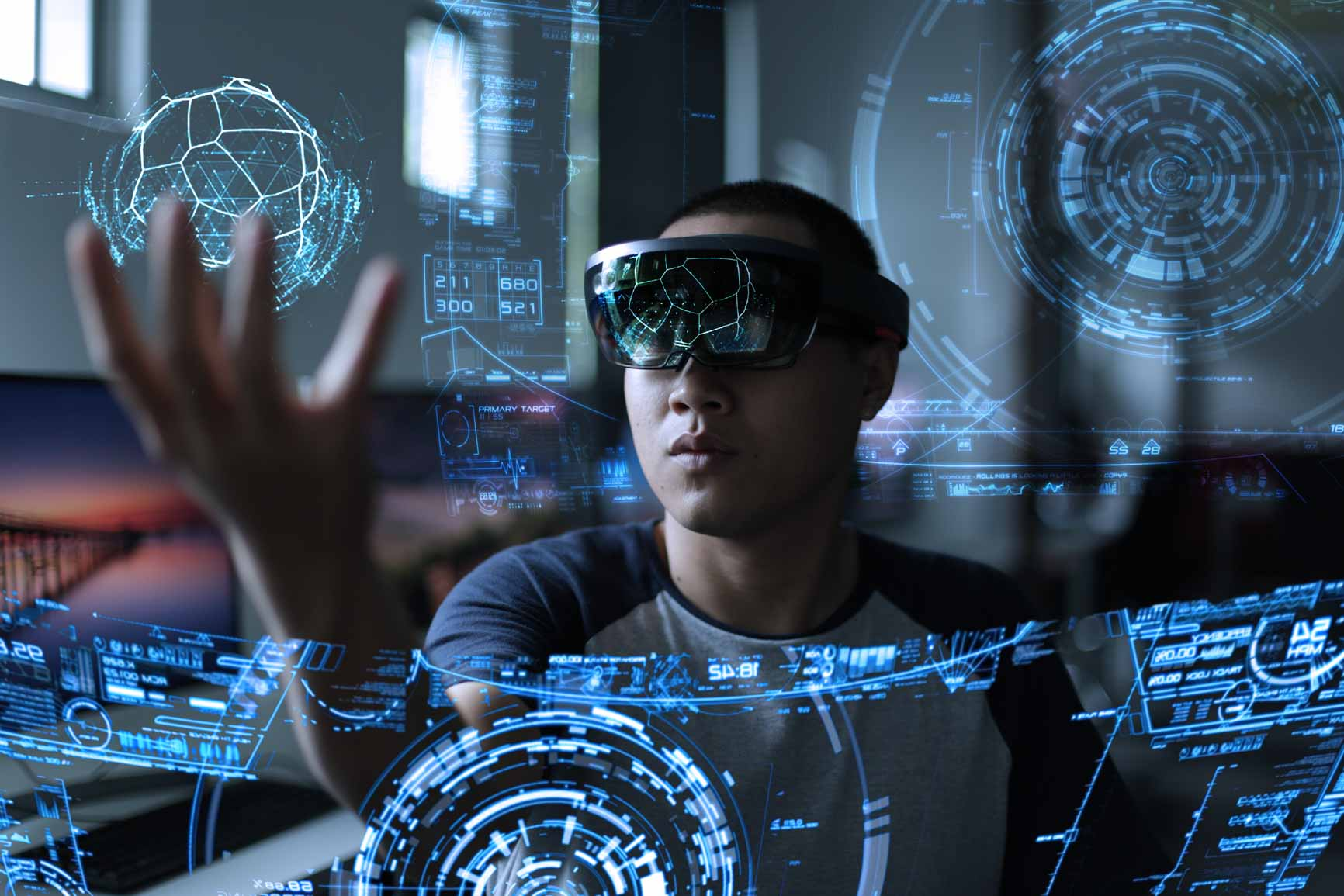 Man Wearing VR Headset looking at 3D information