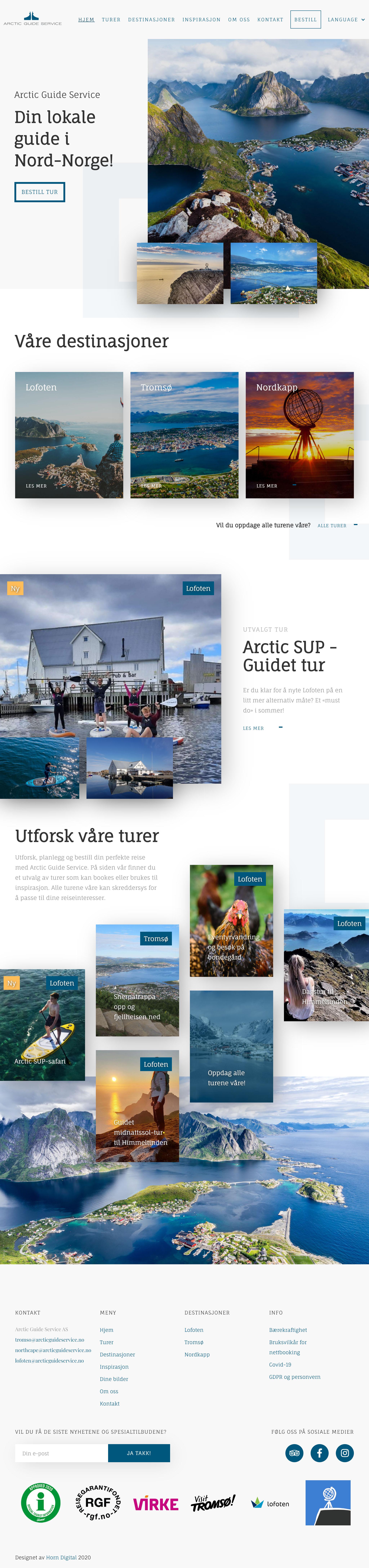 Skjermbilde av hele nettsiden til Arctic Guide Service
