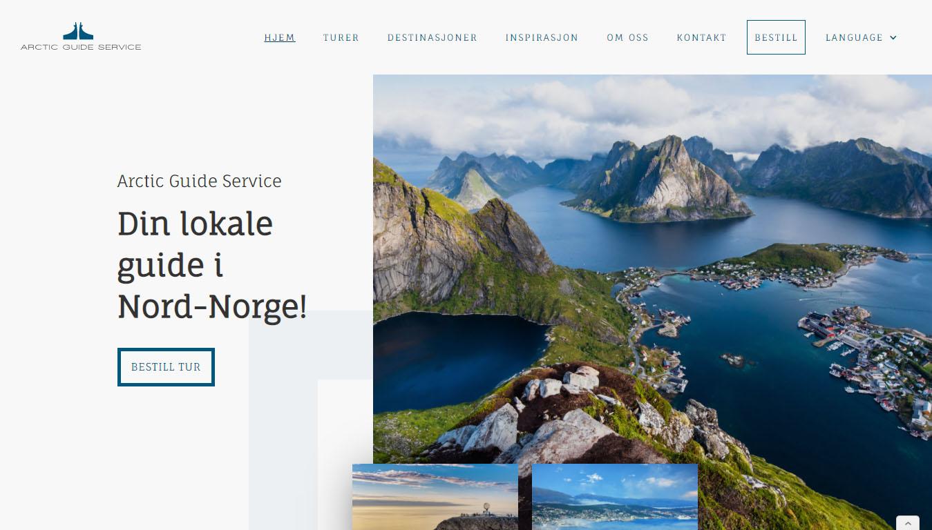 Skjermbilde av nettsiden til Arctic Guide Service