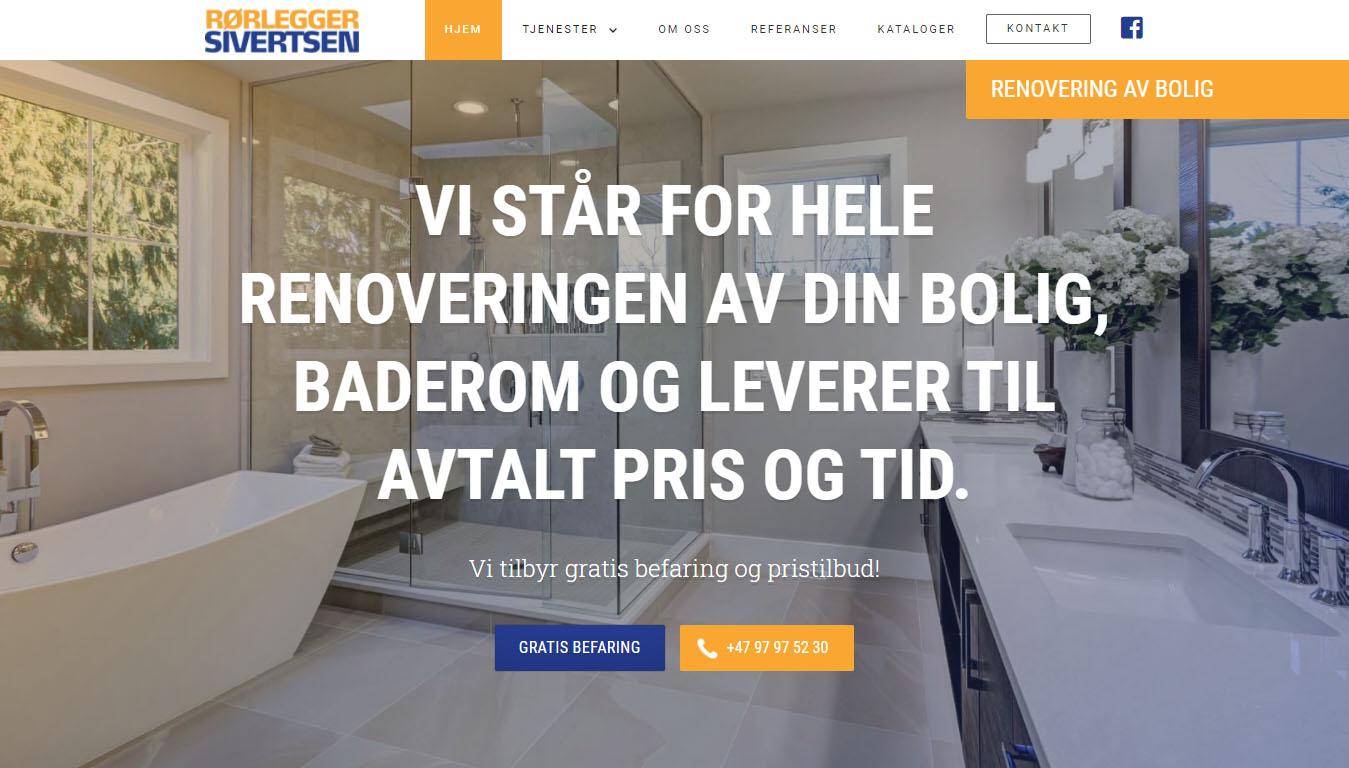 Skjermbilde av nettsiden til Rørlegger Sivertsen