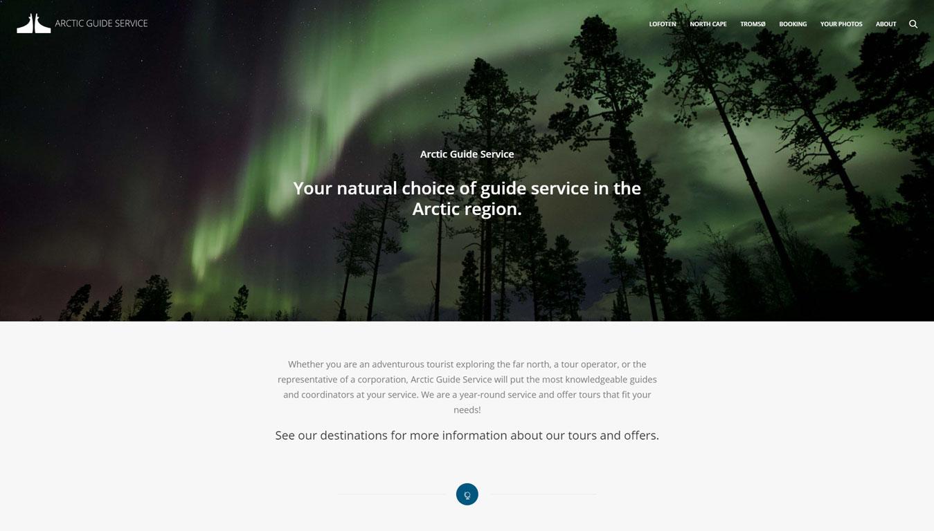 Førbilde av nettsiden til Arctic Guide Service