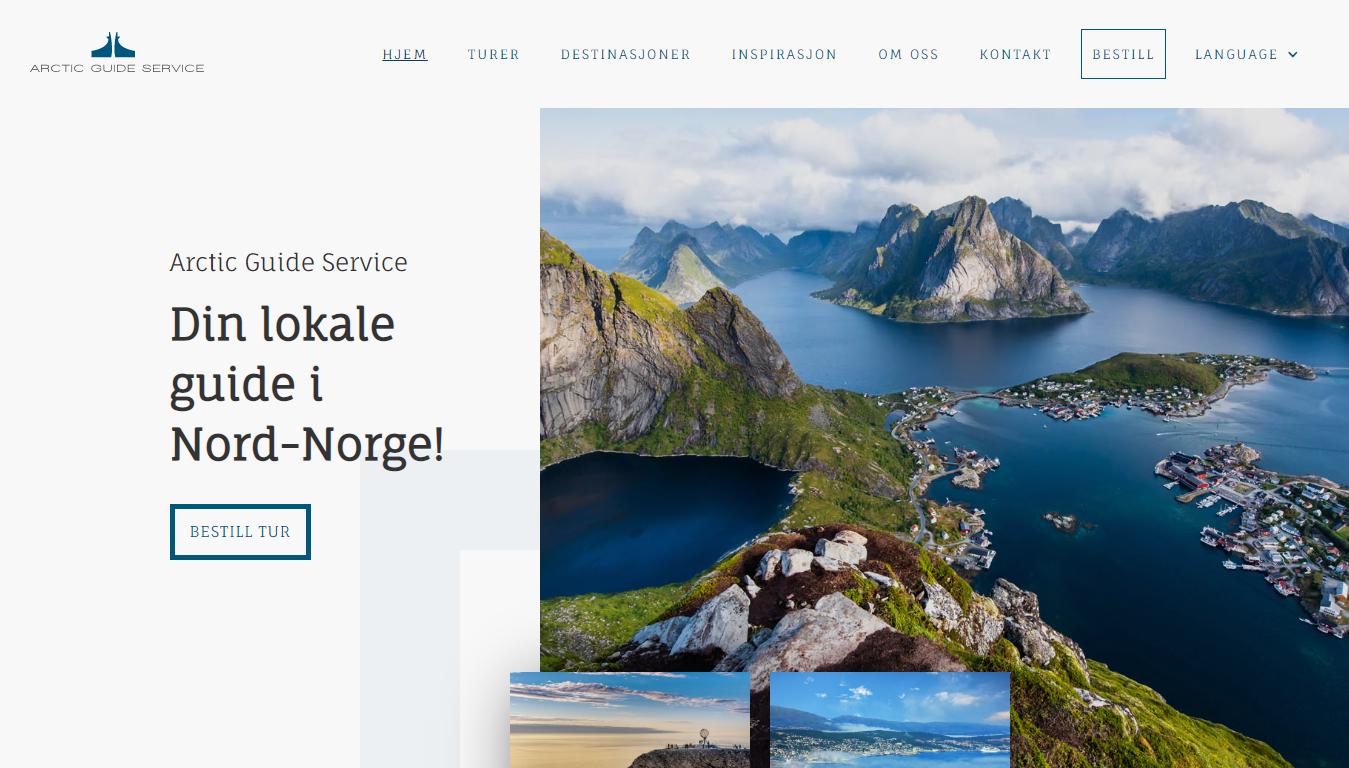 Etterbilde av nettsiden til Arctic Guide Service