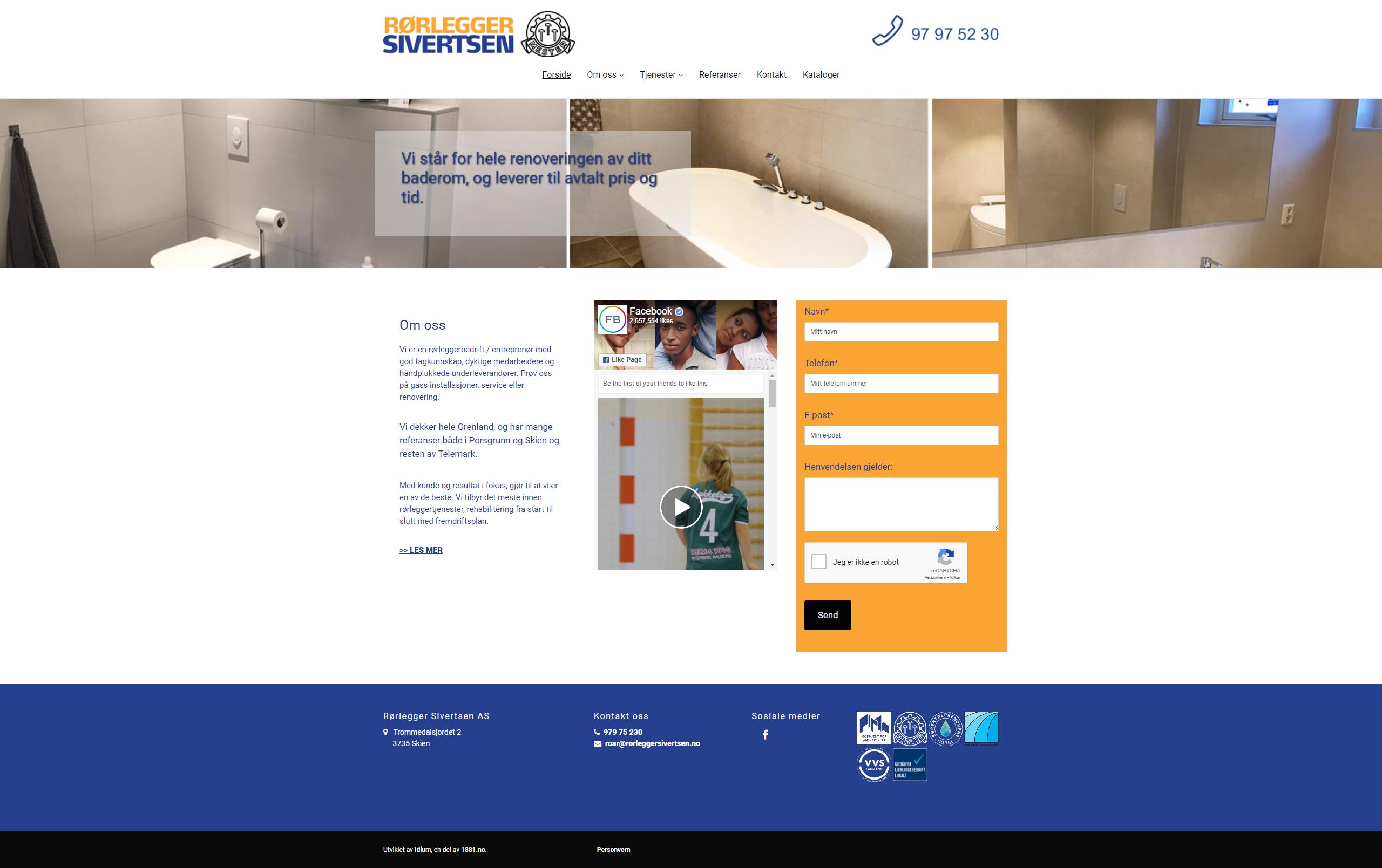 Førbilde av nettsiden til Rørlegger Sivertsen