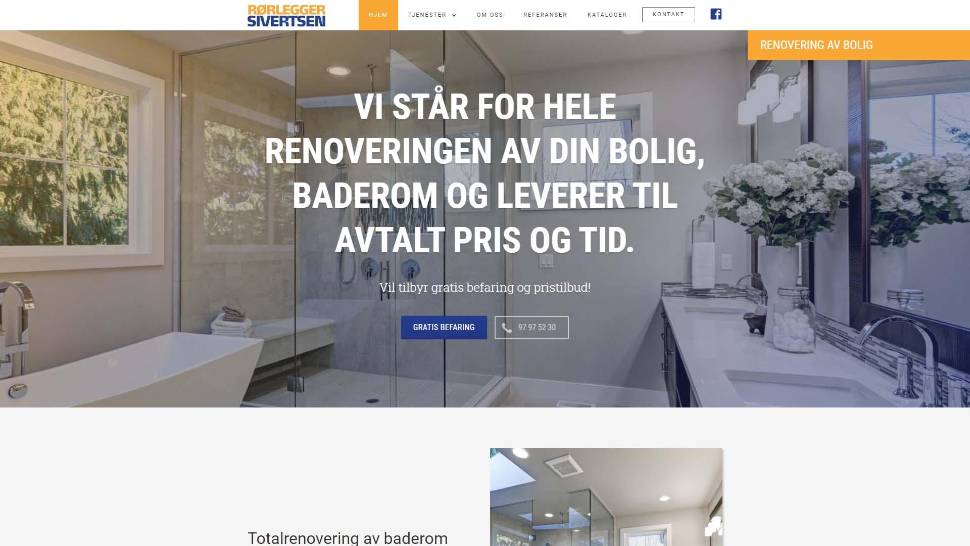 Etterbilde av nettsiden til Rørlegger Sivertsen