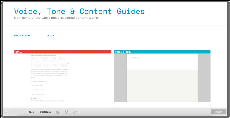 Når du har logget inn ser du nettsiden din, men med et område nederst hvor du kan administrere sider og samlinger.