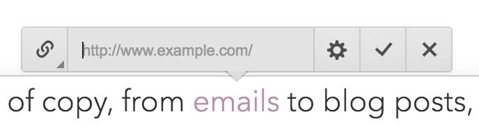 Å legge til en lenke er gjort ved hjelp av et par tastetrykk og gir deg en rekke muligheter.
