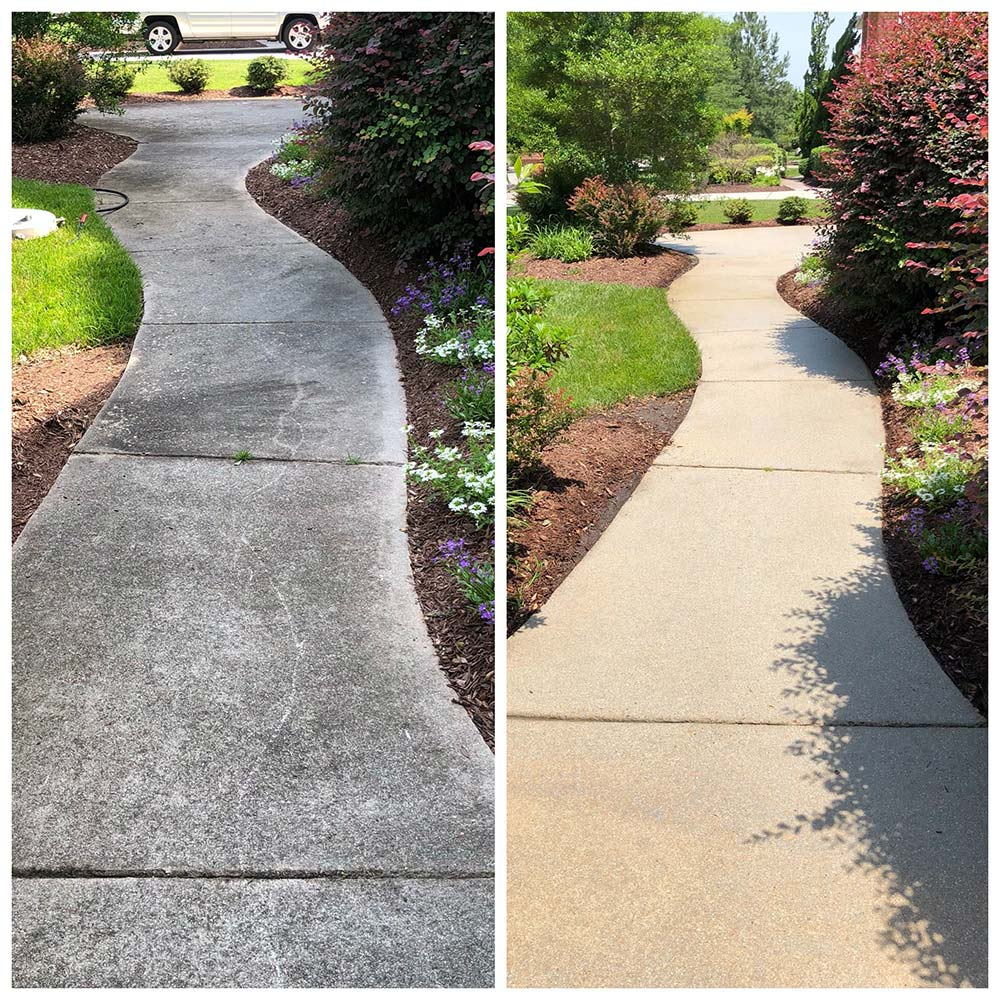 Sidewalk cleaning before and after