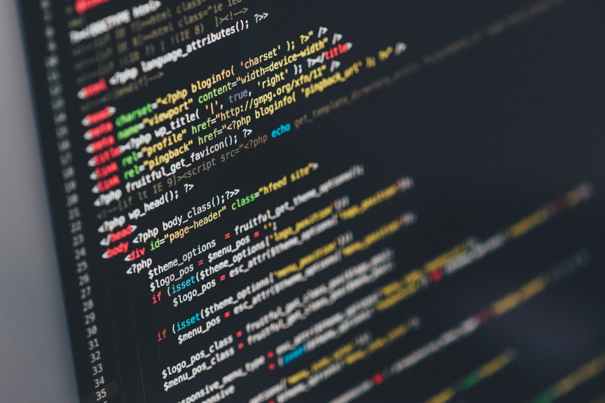 Angled screen of HTML code