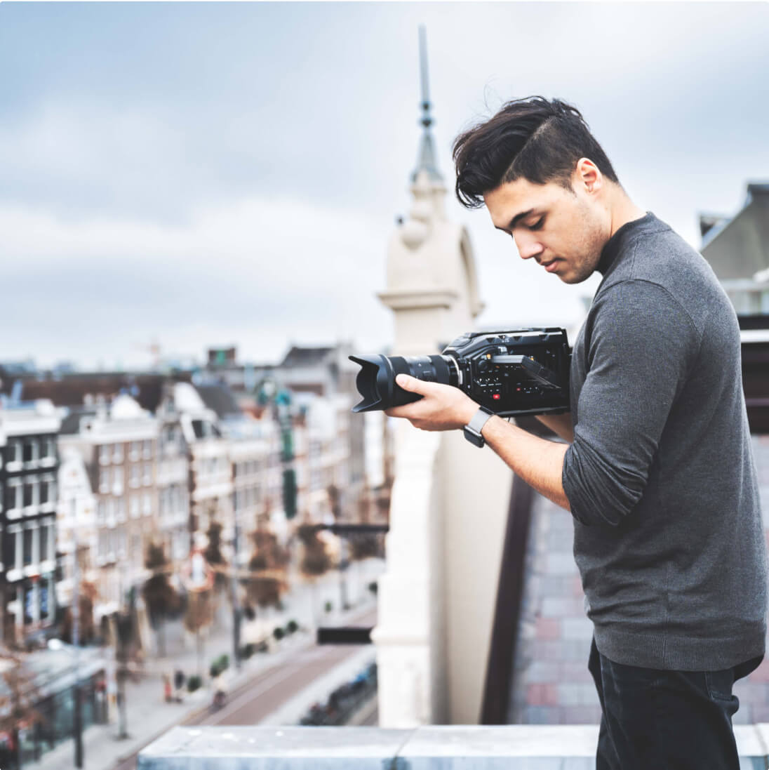 Video and animation in action on a rooftop in Amsterdam