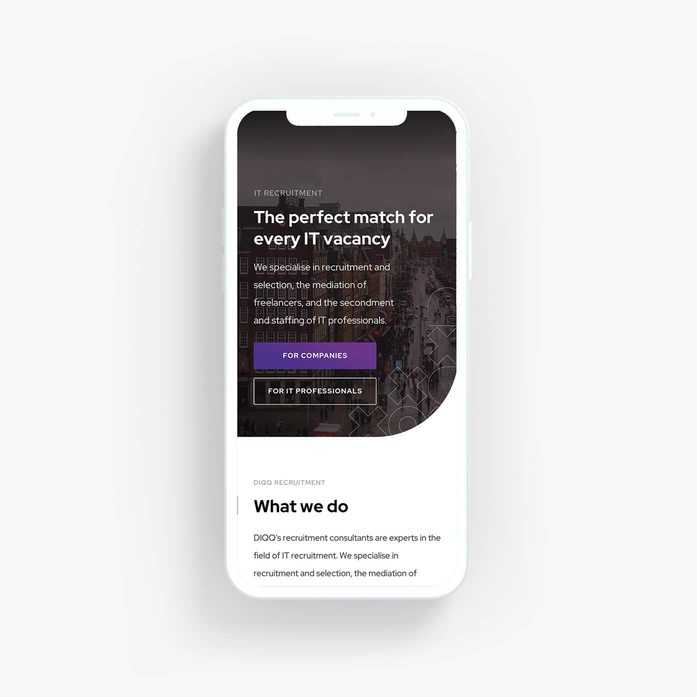 Mobiele versie van DIQQ website