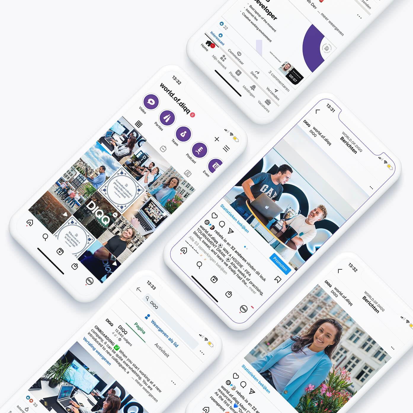 Social Media van DIQQ op mobiel