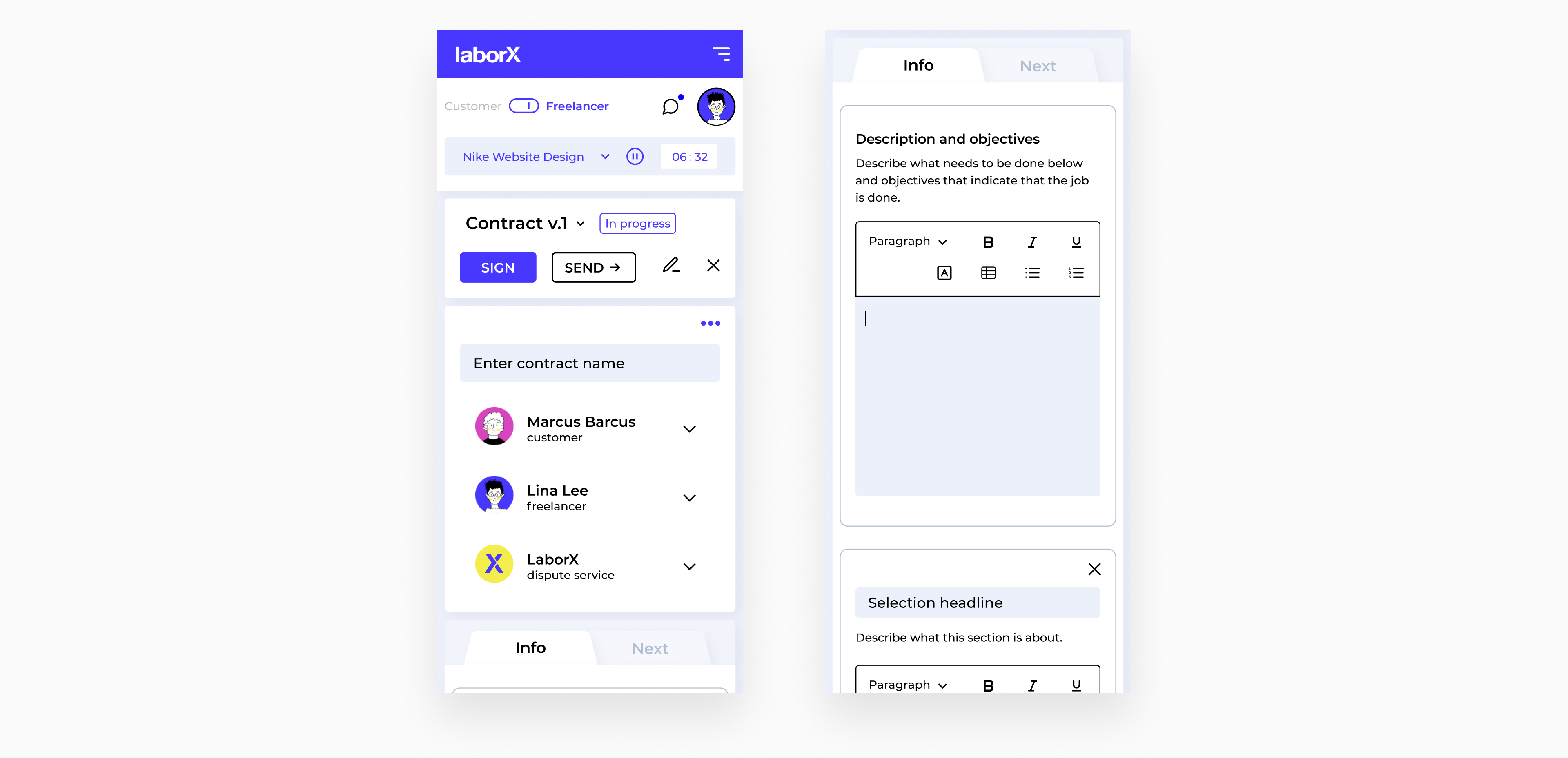 mobile LaborX interface by Embacy