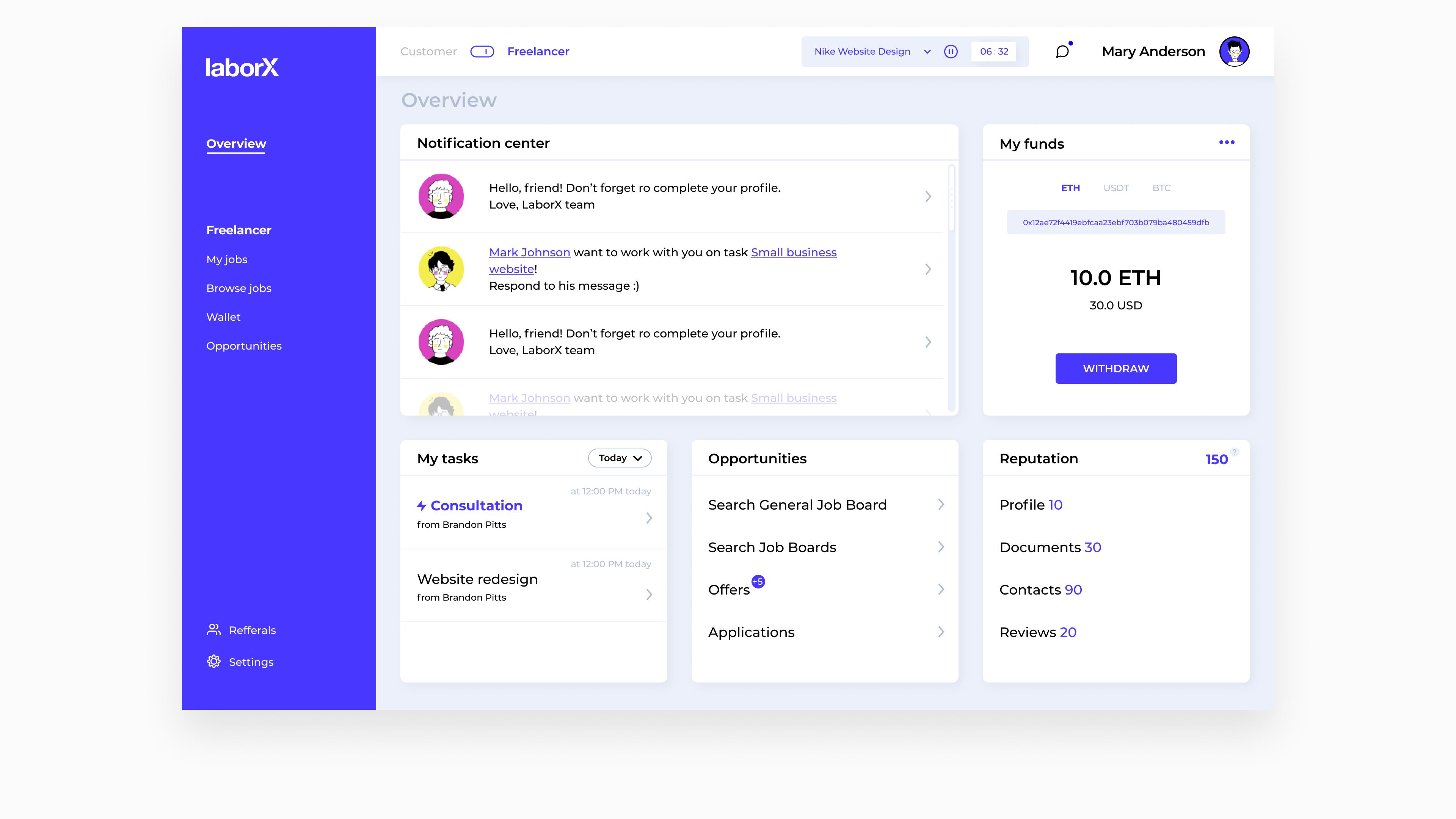 LaborX interface by Embacy
