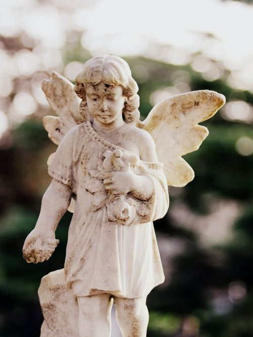 Photograph of an angel statue in a cemetery next to a graveside funeral service