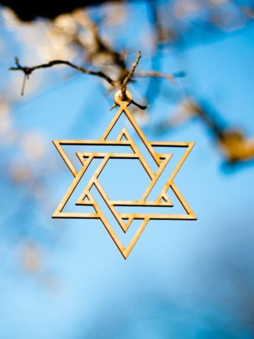 Photo of a Star of David ornament hanging from a tree to celebrate a barmitzvah