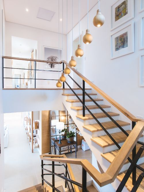 Interior photography of a luxury property featuring an architecturally designed staircase