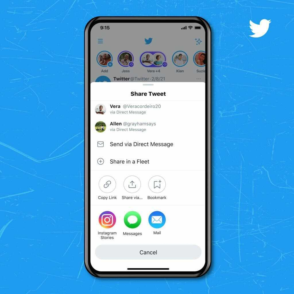 """A phone that shows the """"Share Tweet"""" prompt on Twitter and the option to share to Instagram Stories."""