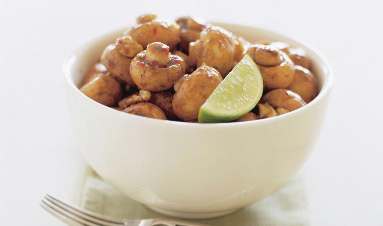 Chili Glazed Mushrooms with Walnuts