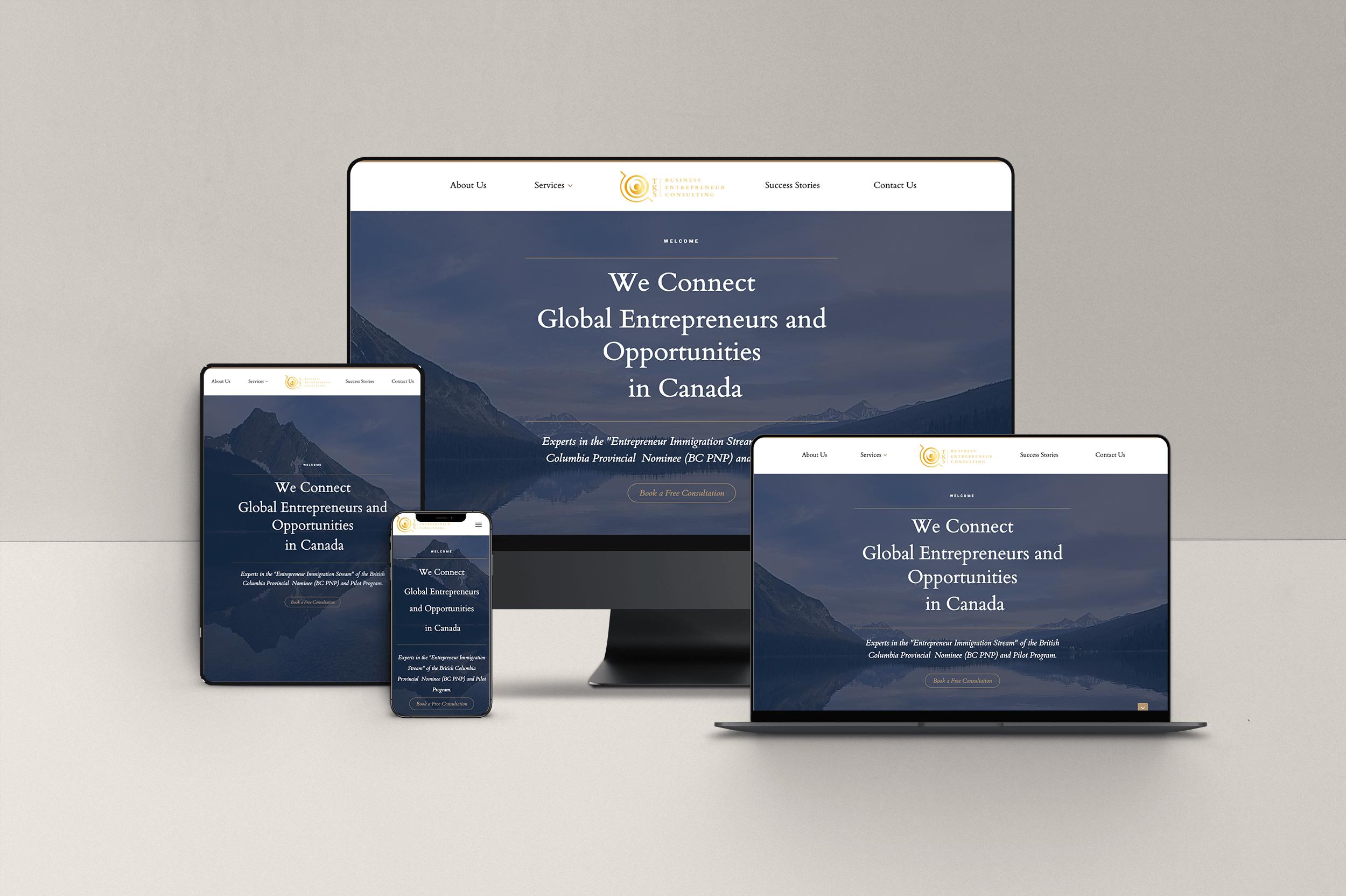view of TKS website homepage on desktop, laptop, tablet and mobile screens