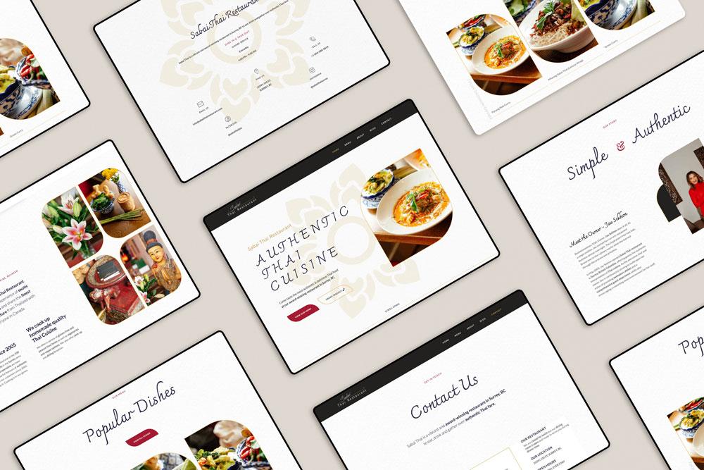 Top view of Sabai Thai Restaurant Websites webpages