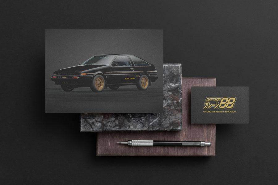 Top view of Garage88 branding with their golden garage88 logo