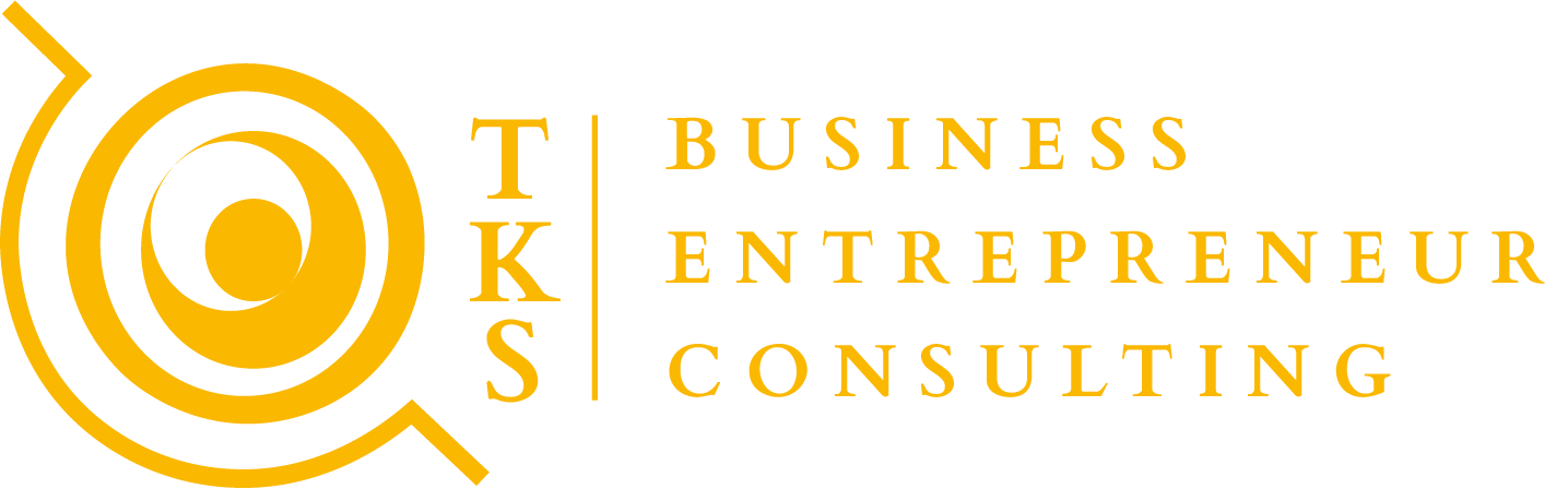 Logo of TKS business consulting showing a golden globe with a business wordmark
