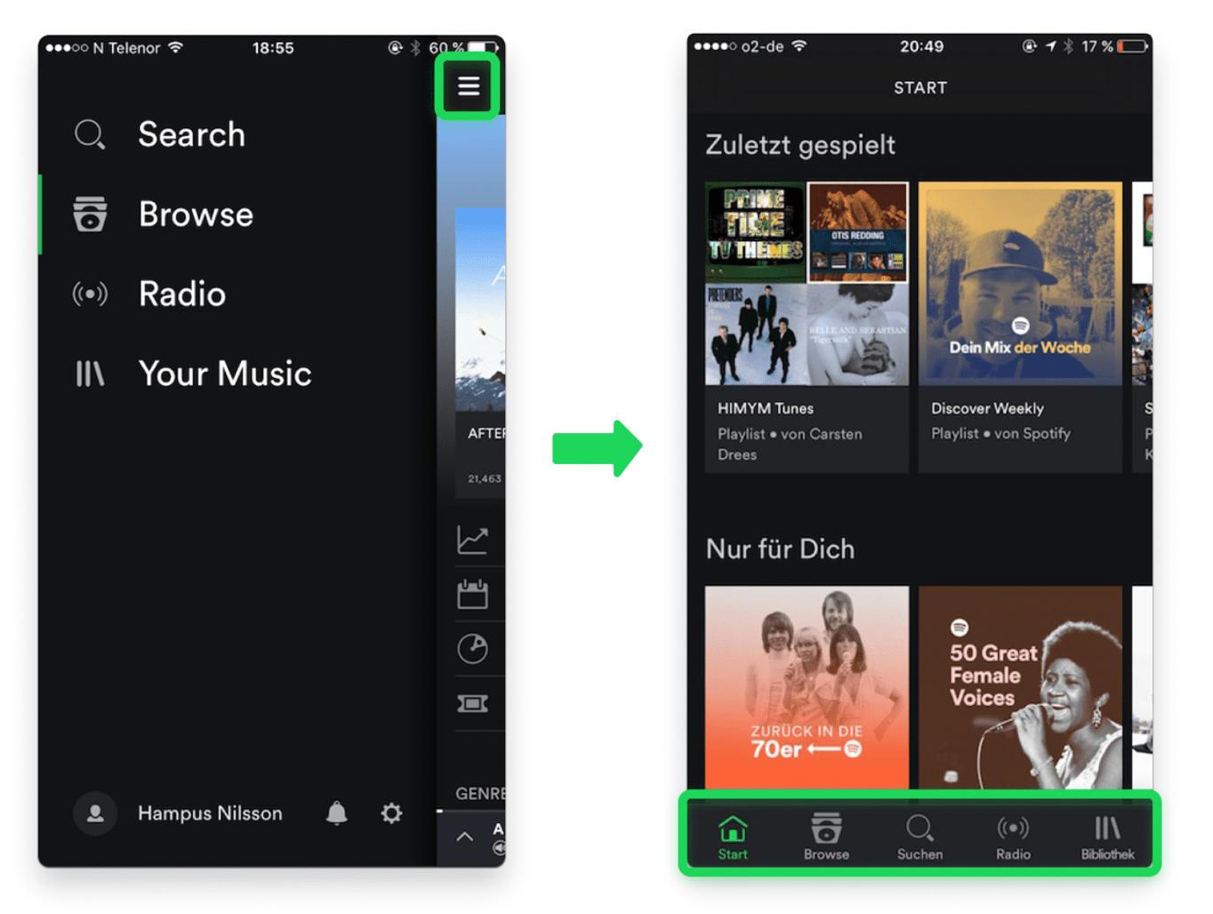 Vergleich der Spotify-App mit einem Hamburger-Menü vor 2016 und die aktuelle Darstellung mit einer Tableiste