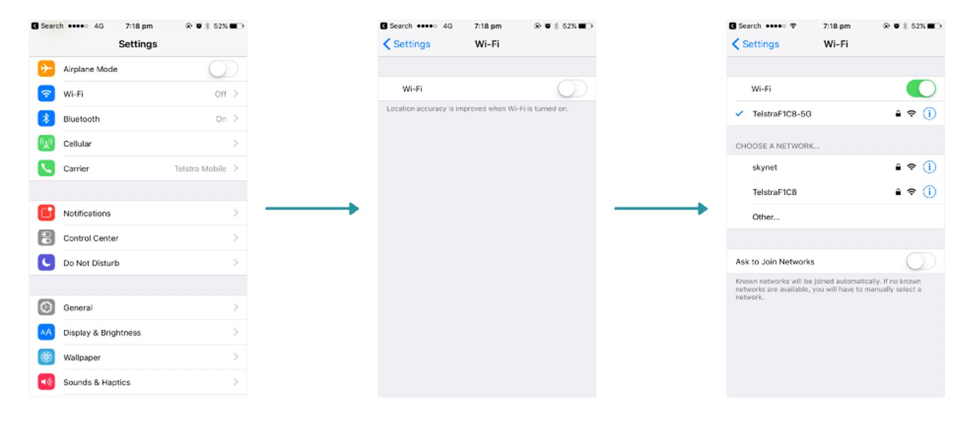 """Einstellungen-App auf dem iPhone, zuerst der Screen mit allen Überkategorien, dann der Screen """"Wi-Fi"""", der nur die ausgeschaltete Option """"Wi-Fi"""" beinhaltet, und bei aktivierter Option ein Screen mit weiteren Wi-Fi-Einstellungen."""