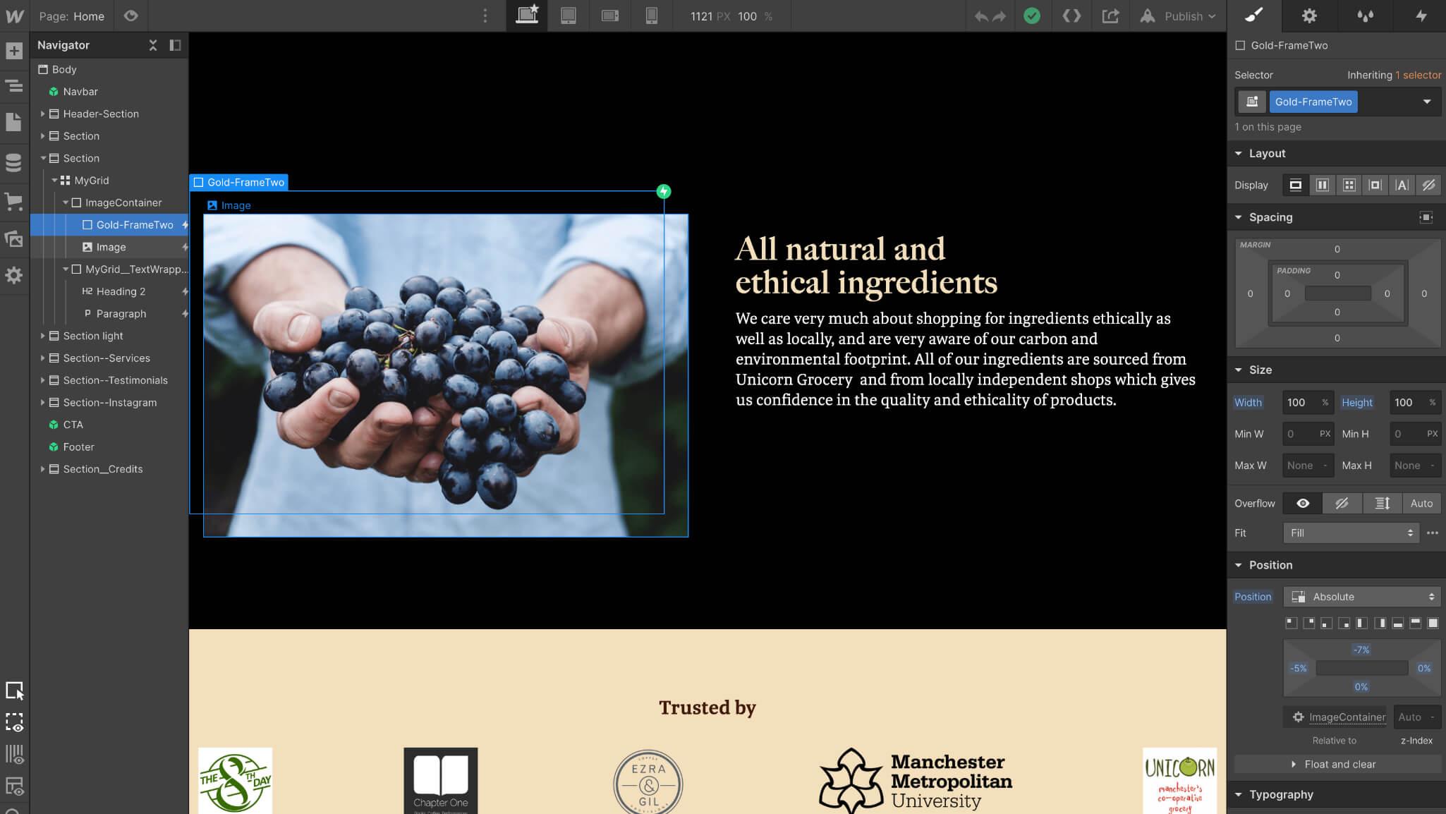 Webflow screen