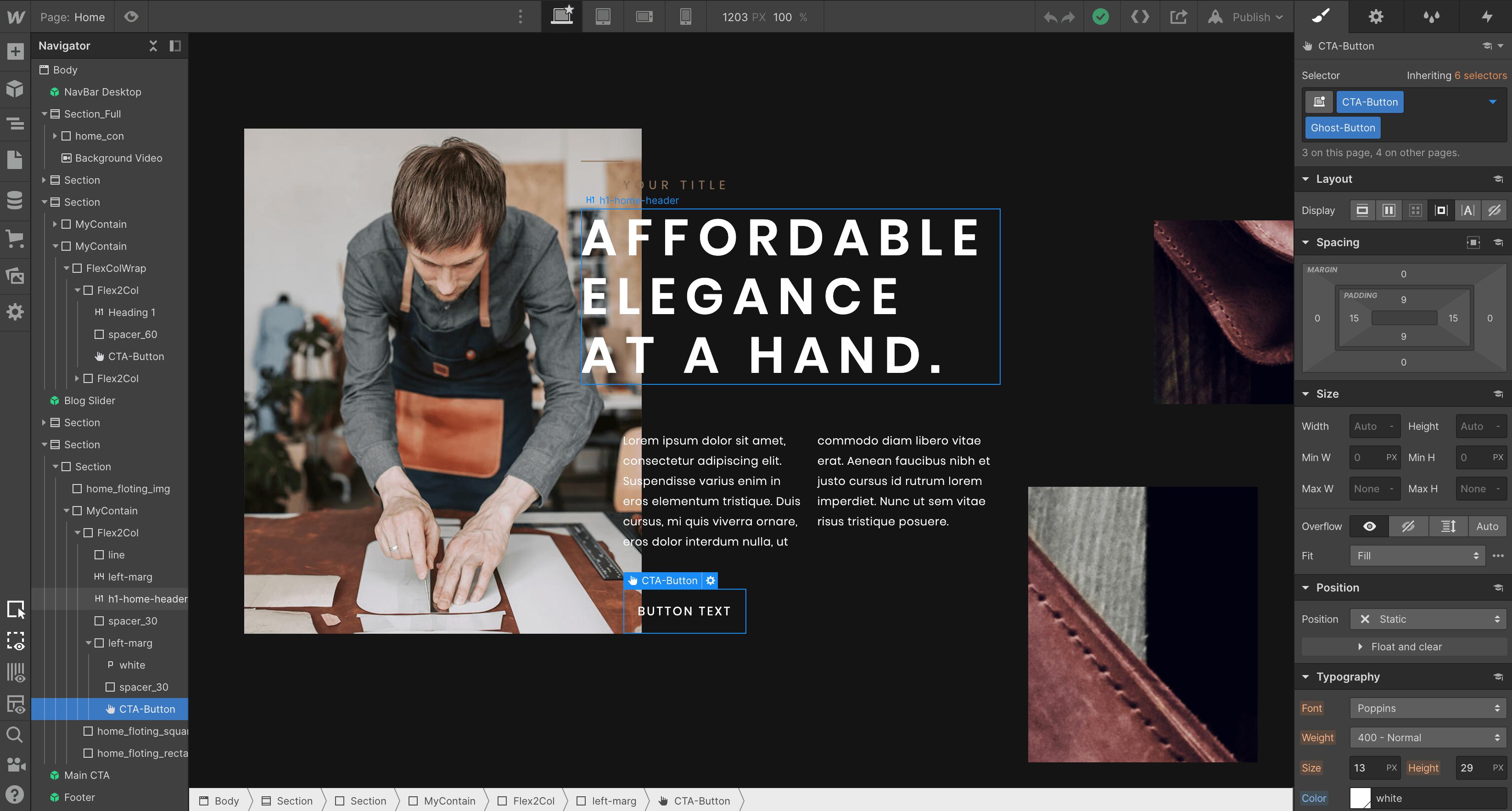 Webflow designer page