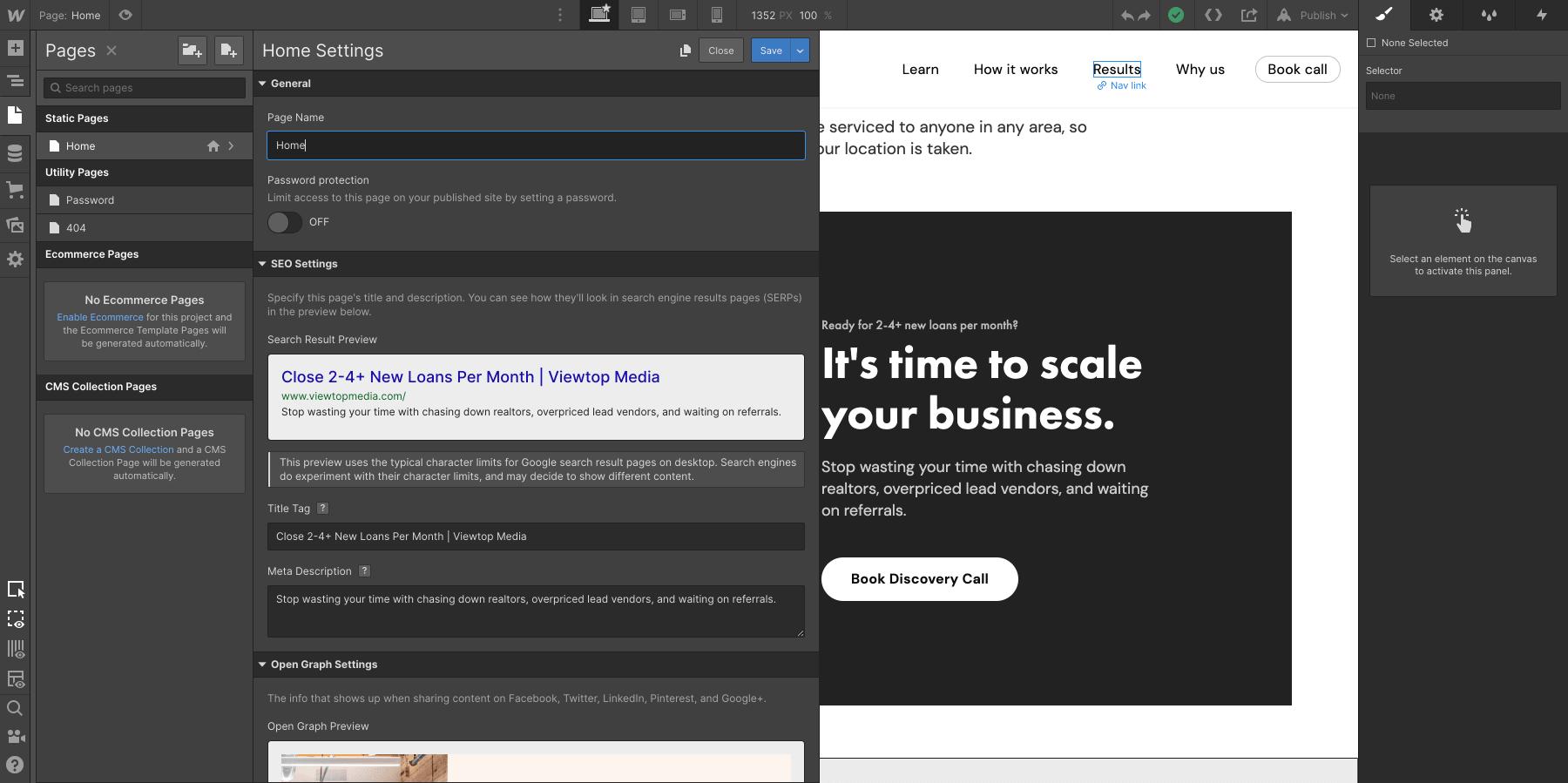 Webflow SEO page menu