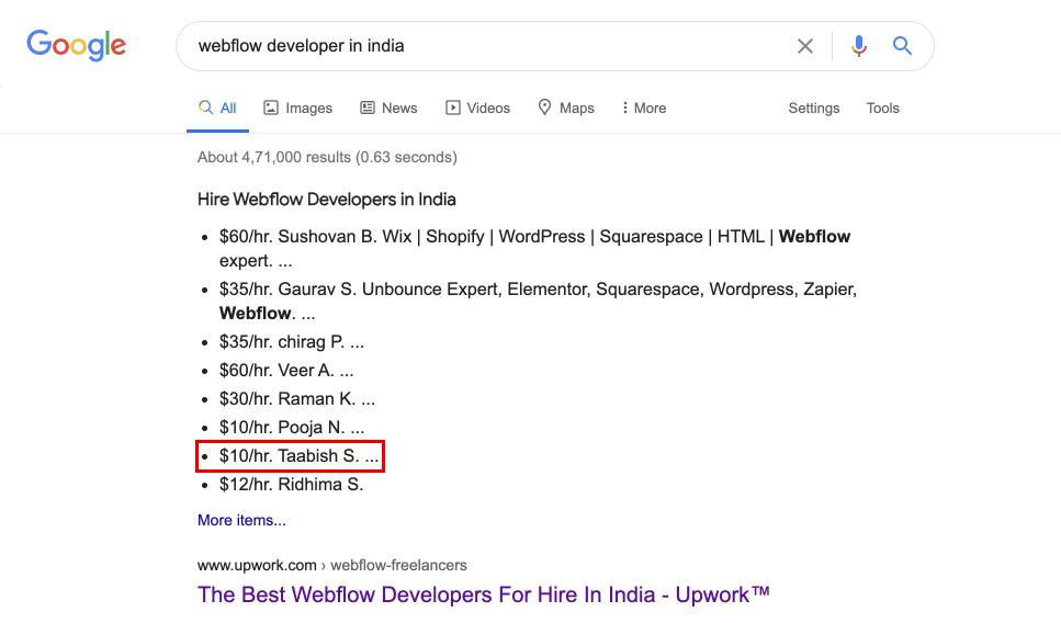 Webflow developer in India