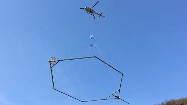 Geoskanner E18-traseen fra helikopter