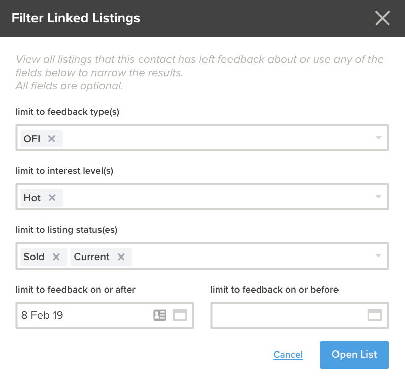 filter linked listings