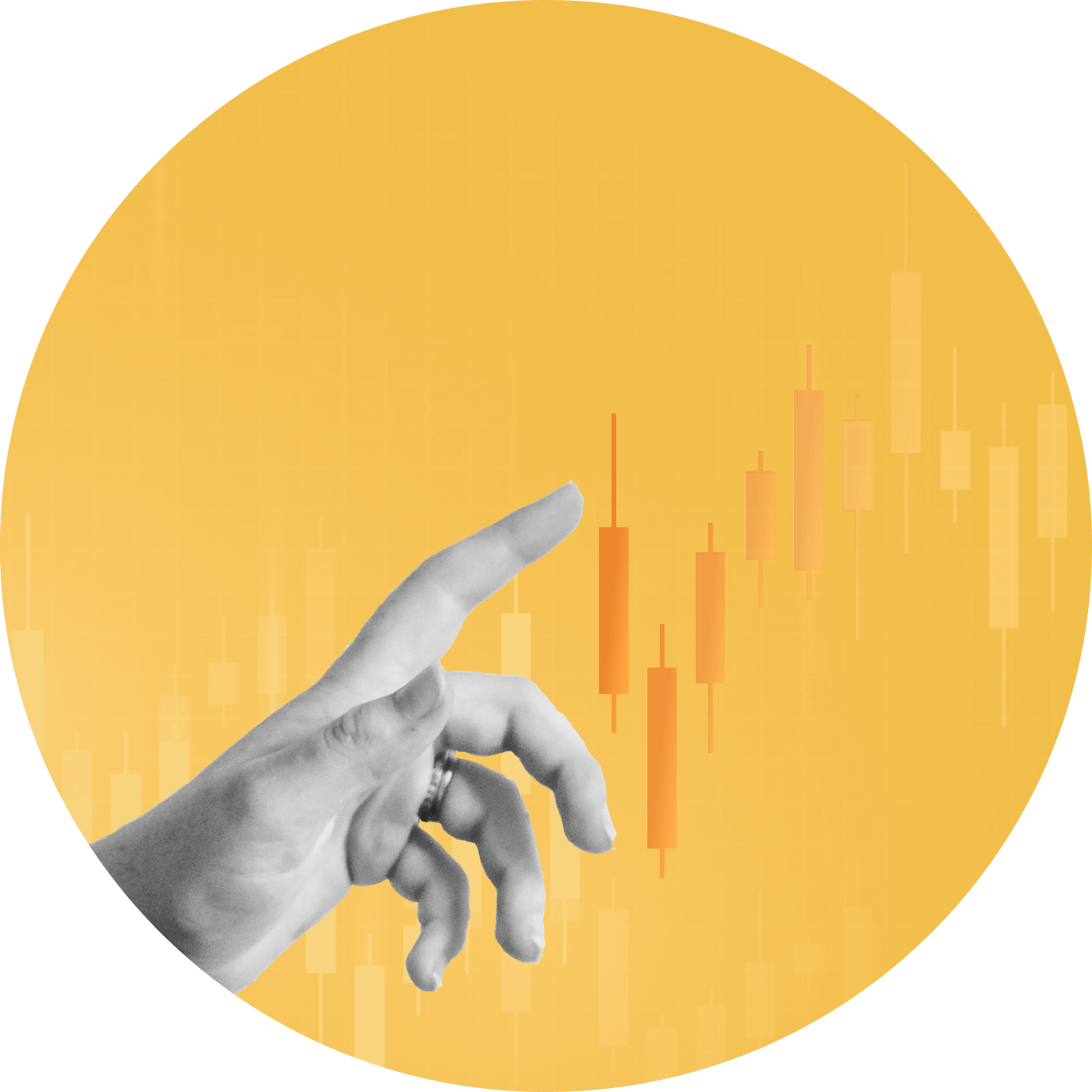 Hand pointing to a stock chart