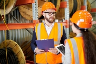 Man doing safety training in a warehouse