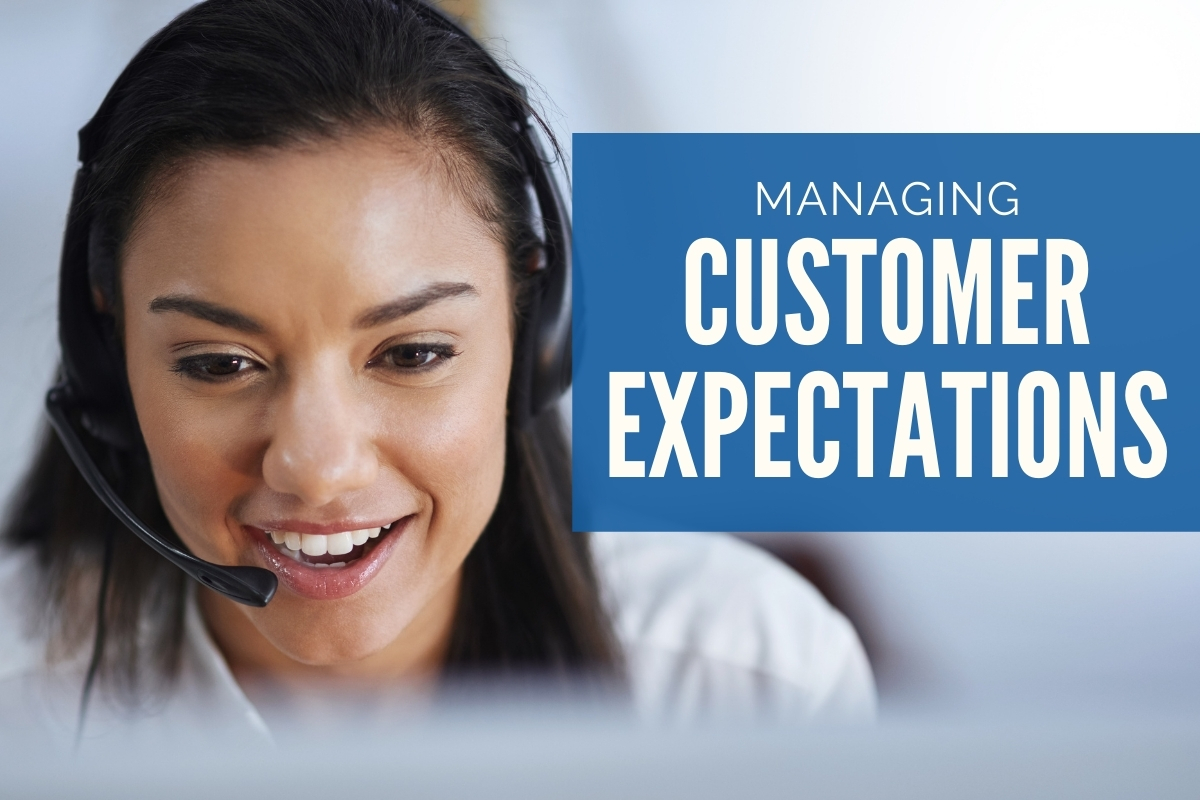 Woman with a headset doing customer service - Managing Customer Expectations
