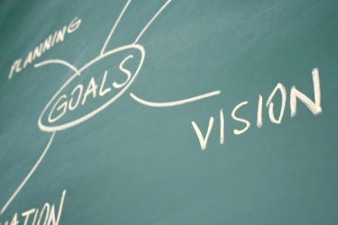 Chalkboard with the word Goal, vision and planning