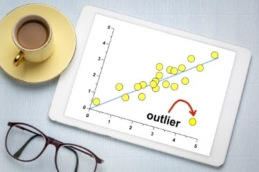 Tablet showing an outlier in a graphic