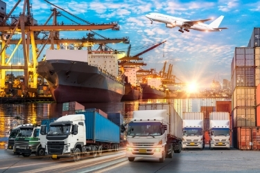 Trucks, cargo ships,containers, and planes