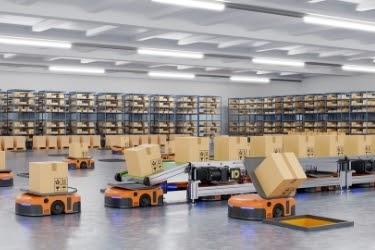 Amazon robots moving boxes