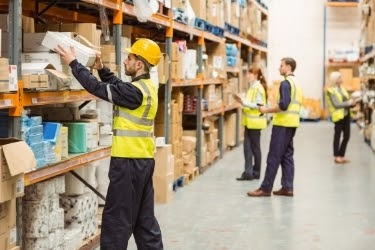 People working at a warehouse picking products.