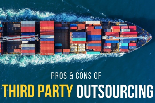 Photo of the top view of a cargo ship with a lot of containers - Pros & Cons of Third Party Outsourcing