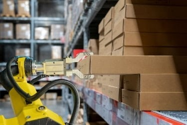 robot picking boxes from a shelf