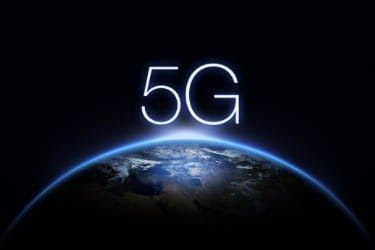 5G sign on top of the Earth