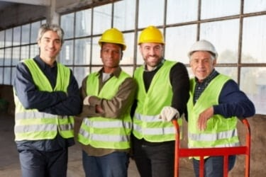 Team of workers in the logistics industry