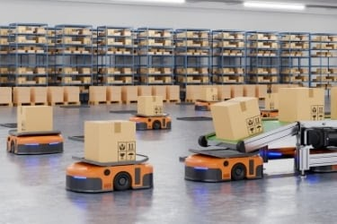 Robots moving boxes inside a warehouse