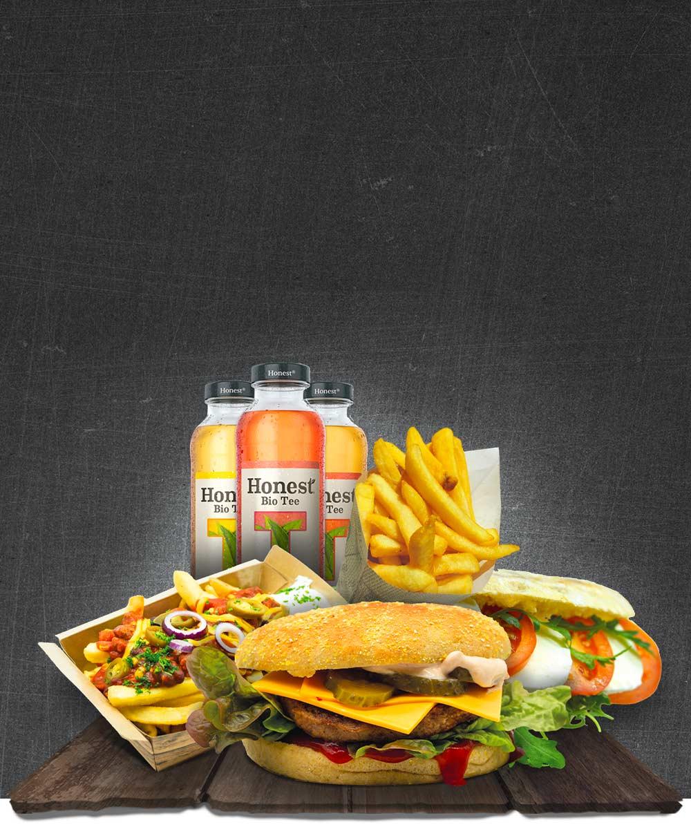 Portola Grill Foto mit leckerem Burger, kanadischen Poutinen, belgischen Fritten, einem knusprigen Panini und Honest Eisstte