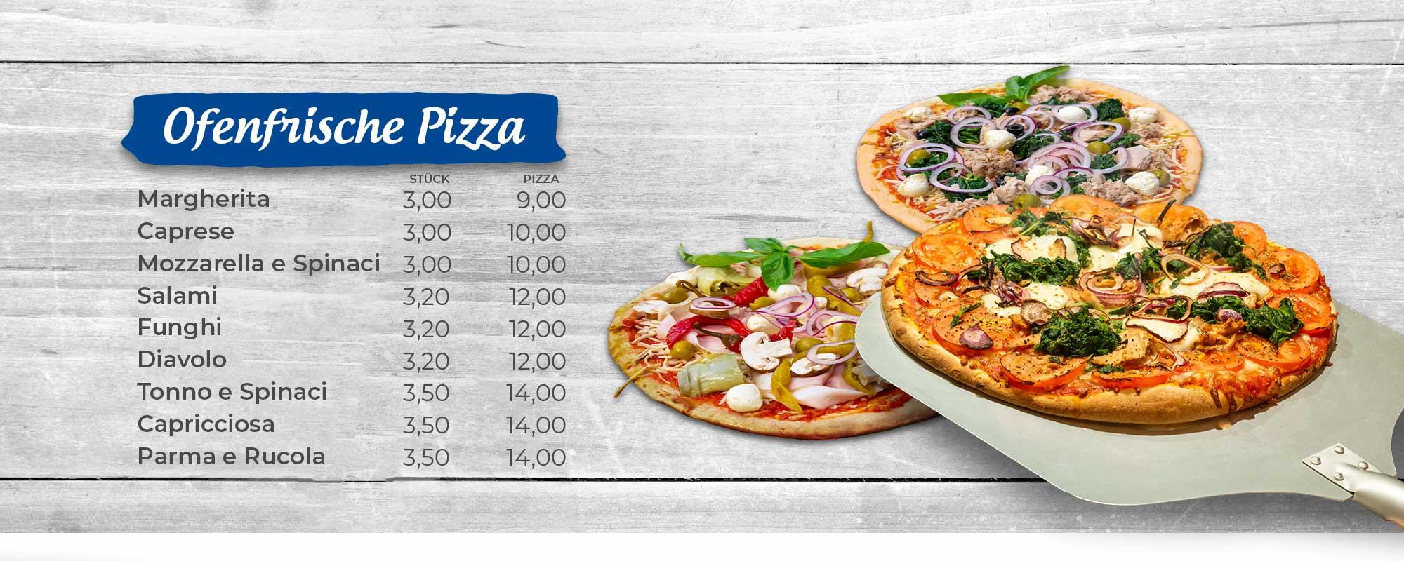 Ofenfrische Pizza in verschiedenen Variationen