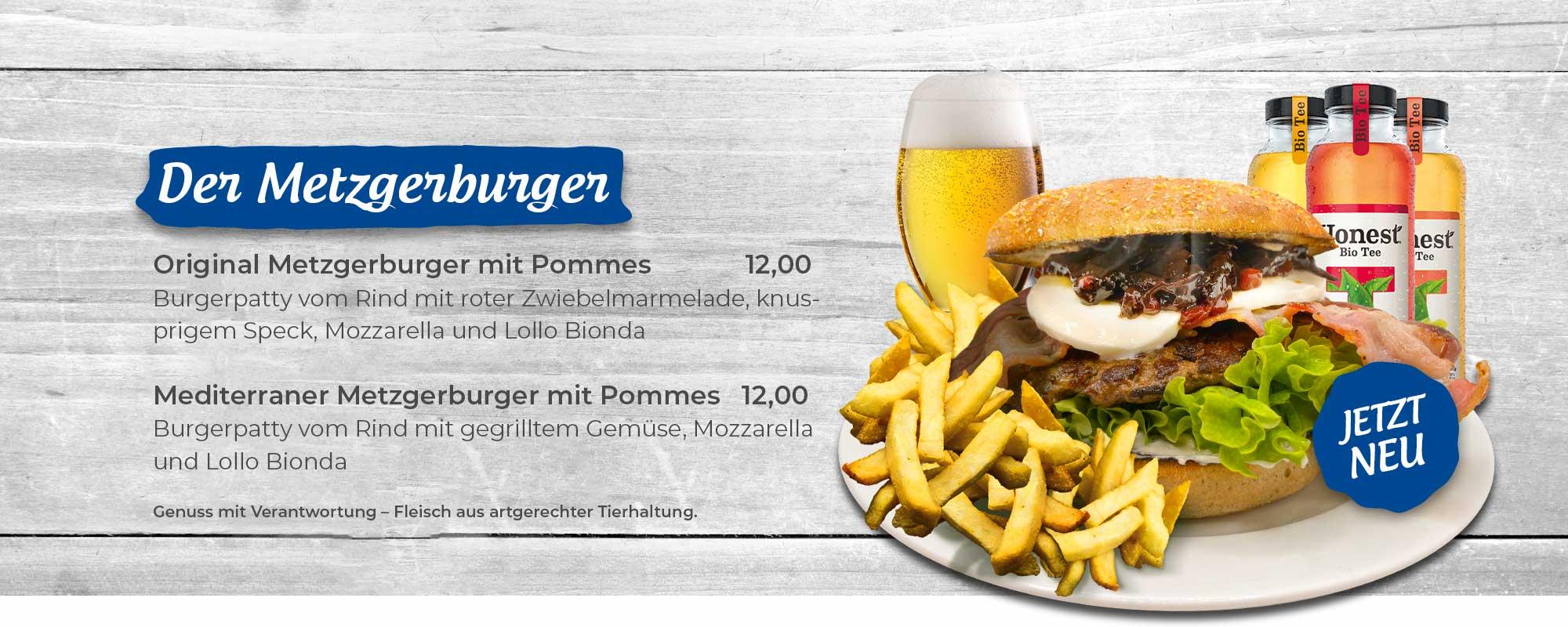 Angebot Metzgerburger mit einem großen Burger mit Pommes Frites und Bacon